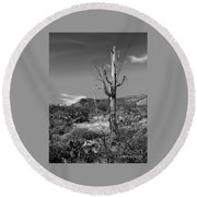 The Past Is Present Round Beach Towel