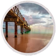 The Pastel Sky And The Jetty Round Beach Towel