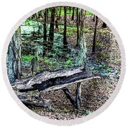 The Path By The Log Round Beach Towel