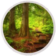 The Path Through The Forest Round Beach Towel