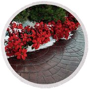 The Path To Christmas - Poinsettias, Trees, Snow, And Walkway Round Beach Towel