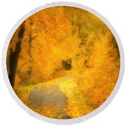 The Pathway Of Fallen Leaves Round Beach Towel