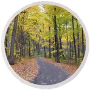 The Pathway To Fall Round Beach Towel