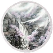The Peach Blossoms In The Mountains Round Beach Towel