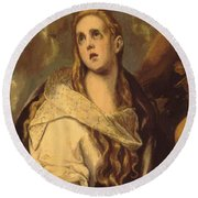 The Penitent Magdalene 1578 Round Beach Towel