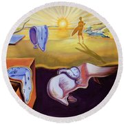The Persistence Of Memory-amadeus Series  Round Beach Towel