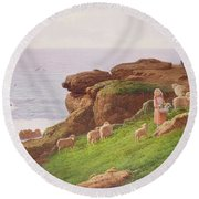 The Pet Lamb Round Beach Towel by J Hardwicke Lewis