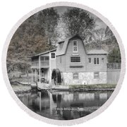 The Peterson Mill In Saugatuck Michigan Round Beach Towel
