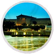 The Philadelphia Art Museum And Waterworks At Night Round Beach Towel