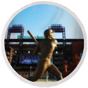 The Phillies - Mike Schmidt Round Beach Towel by Bill Cannon