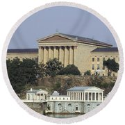 The Philly Art Museum And Waterworks Round Beach Towel