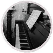 The Piano - Black And White Round Beach Towel