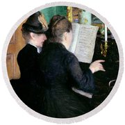 The Piano Lesson Round Beach Towel by Gustave Caillebotte