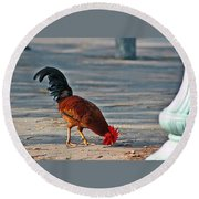 The Picking Rooster Round Beach Towel