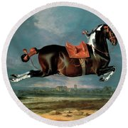The Piebald Horse Round Beach Towel