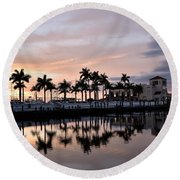 Reflecting Palms At The Pier 22 Round Beach Towel