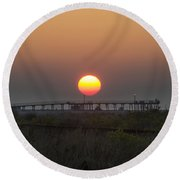 The Pier At Wildwood Crest At Sunrise Round Beach Towel