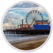 The Pier On A Cloudy Day Round Beach Towel
