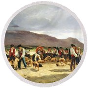 The Pig Market Round Beach Towel by Pierre Edmond Alexandre Hedouin