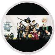 The Pilgrim Fathers Arrive In America Round Beach Towel