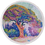 The Pine Tree At Saint Tropez Round Beach Towel by Paul Signac