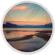 The Pink Clouds Of January Round Beach Towel