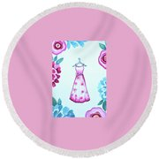 The Pink Floral Dress Round Beach Towel