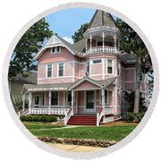 The Pink House 2 Round Beach Towel
