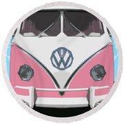The Pink Love Bus Round Beach Towel