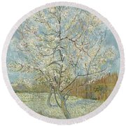 The Pink Peach Tree Arles, April - May 1888 Vincent Van Gogh 1853  1890 Round Beach Towel