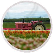 The Pink Tractor Round Beach Towel