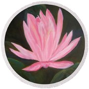 The Pink Water Lily Round Beach Towel