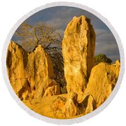 The Pinnacles Nambung National Park Australia Round Beach Towel