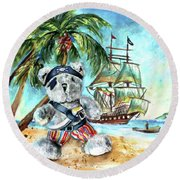 The Pirate Bear Round Beach Towel