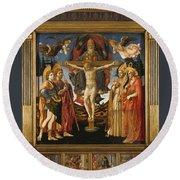 The Pistoia Santa Trinita Altarpiece Round Beach Towel
