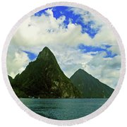 The Pitons Round Beach Towel