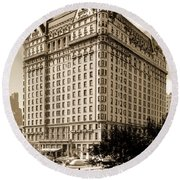 The Plaza Hotel Round Beach Towel