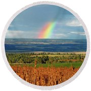 The Pleasant View Rainbow Round Beach Towel