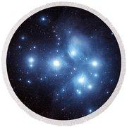 The Pleiades Star Cluster Round Beach Towel by Charles Shahar