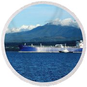 The Polar Resolution Oil Tanker Port Angeles Harbor Wa Round Beach Towel