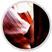 The Polished Rocks Of Lower Antelope Canyon Round Beach Towel
