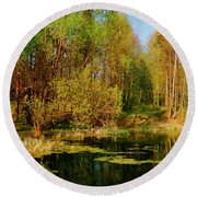 The Pond In The Spring Round Beach Towel