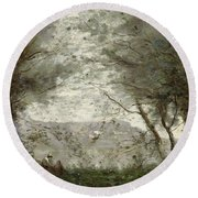The Pond Round Beach Towel by Jean Baptiste Corot