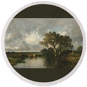The Pond With Oaks Round Beach Towel