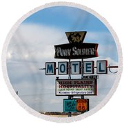 The Pony Soldier Motel On Route 66 Round Beach Towel