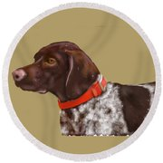The Pooch With A Red Collar Round Beach Towel