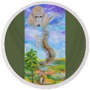 The Poodle Bridge Round Beach Towel