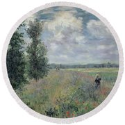 The Poppy Field Round Beach Towel by Claude Monet