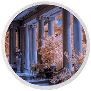 The Porch Of The European Collection Art Gallery At The Huntington Library In Infrared Round Beach Towel