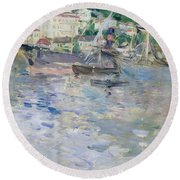The Port At Nice Round Beach Towel by Berthe Morisot